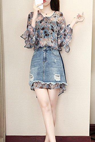 Dos Skirt Gasa Vestido Hip Piezas Jeans De azul Bag s Stts Camisa Temperament RTYUq81qZ