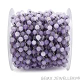 Gems-World Jewelry One Feet Purple Lavender Jade, 6mm Round Shape Black Plated Wire Wrapped Rosary Chain/Beads Chain, (ARC-B19)