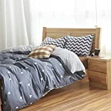 MZPRIDE Gray Triangle Beding Set Gray Striped Duvet Covers Boys Bed Linen Twin