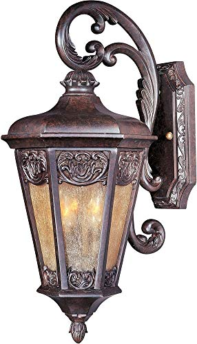 Maxim 40173NSCU Lexington VX 2-Light Outdoor Wall Lantern, Colonial Umber Finish, Night Shade Glass, CA Incandescent Incandescent Bulb , 100W Max., Dry Safety Rating, Standard Dimmable, Fabric Shade Material, 3450 Rated Lumens