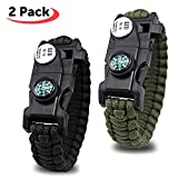 dual tone whistle - Paracord Bracelet - SOS Survival Bracelet With Compass Fire Starter And Whistle Emergency Survival Kit for Hiking Camping Hunting (2 PACK)