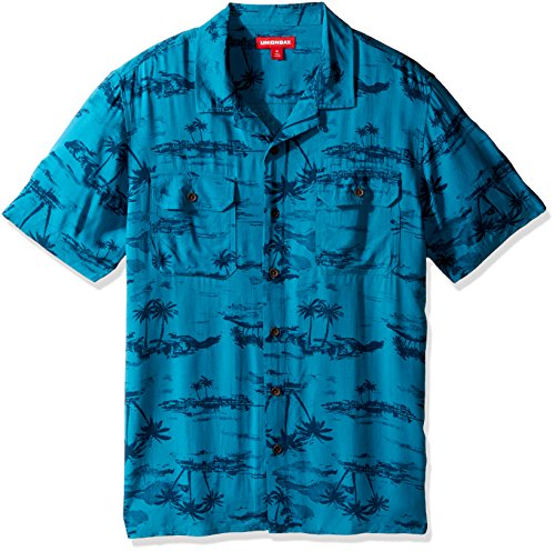 Surf Camp Shirt - UNIONBAY Men's Classic Short Sleeve Rayon Button-up Woven Shirt, Blue Abyss, Large