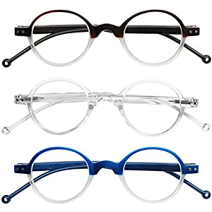 READING GLASSES 3 Pack Affordable Professor Round Two Tone Reading Glasses for Men and Women +1.5