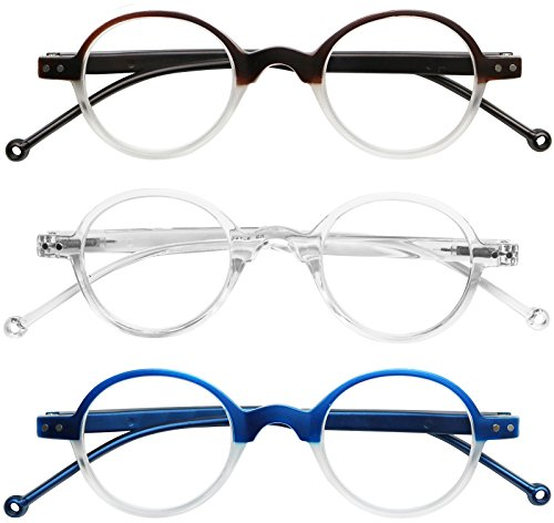 READING GLASSES 3 Pack Affordable Professor Round Two Tone Reading Glasses for Men and Women +1