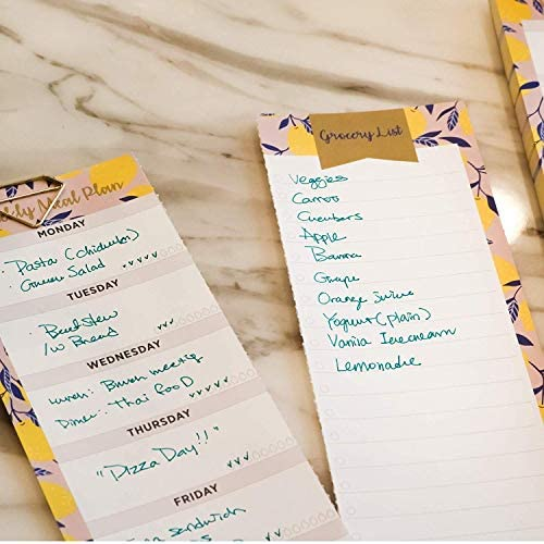 "Oriday Weekly Magnetic Meal Planner Notepad with Tear Off Perforated Grocery Shopping List Checklist for Fridge Door, Kitchen - 52 Sheets, 6"" X 9"" - Perfect for Weekly Diet Prep (Menu Planning Pad) 10"