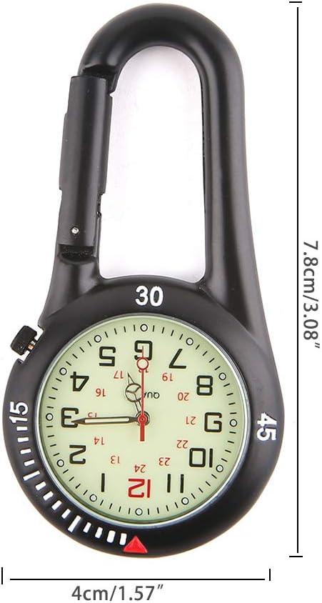 JIACUO Outdoor Karabiner Fluoreszierende Uhren Rucksack Schnalle Kletterhaken Leuchtendes Zifferblatt Silber