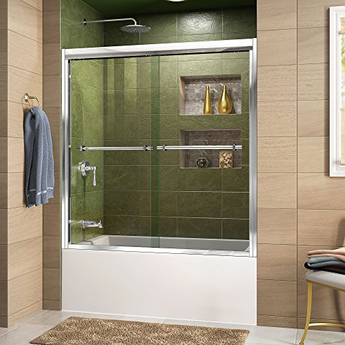 DreamLine Duet 55-59 in. W x 58 in. H Semi-Frameless Bypass Sliding Tub Door in Chrome, SHDR-1260588-01