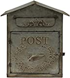 Antique Style Galvanized Metal Post Box with Door