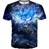 Neemanndy Unisex Short Sleeve Shirts 3D Print Graphic Blue Tee Shirt for Men and Women, XX-Large