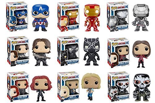 Pop! Marvel: Captain America: Civil War Captain America, Iron Man, Black Widow, Scarlet Witch, Black Panther, Winter Soldier, War Machine, Agent 13 and Crossbones Vinyl Figures! Set of 9