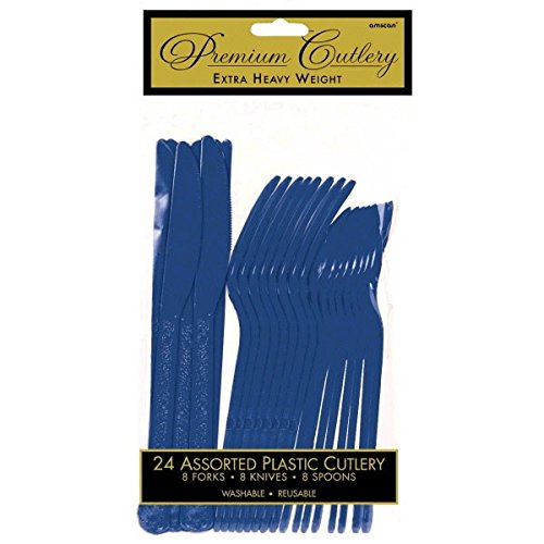 Reusable Party Premium Heavy Weight Plastic Assorted Cutlery Cutlery, Navy Flag Blue, Pack of (Blue Assorted Cutlery)