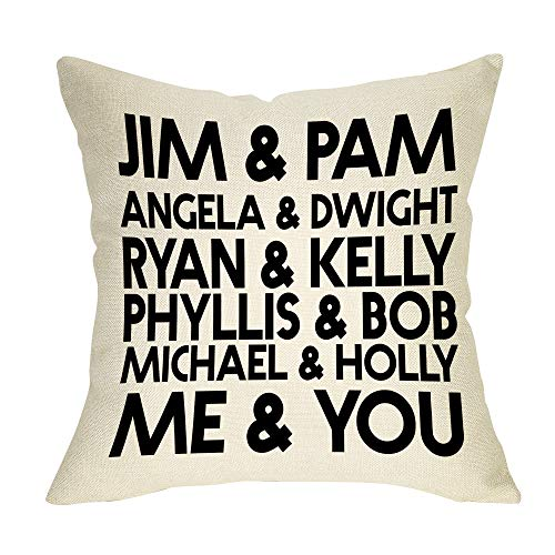 Softxpp Jim & Pam The Office Funny Pillow Cover TV Show Lover Decor Lover Cushion Case Decorative for Sofa Couch 18