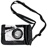 DURAGADGET Compact Camera Case in Black for Pentax Q, Pentax Q10, Pentax Q7 & Pentax Q-S1 - Premium Quality, Water-Resistant Pouch with Zoom Lens Compartment, Cross-Body Strap & Air-Locked Seals