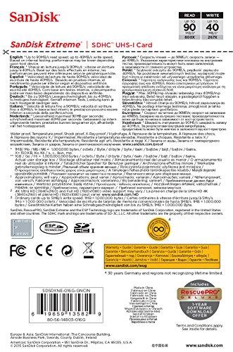 SanDisk 16GB Extreme SDHC UHS-I Memory Card - 90MB/s, C10, U3, V30, 4K UHD, SD Card - SDSDXNE-016G-GNCIN