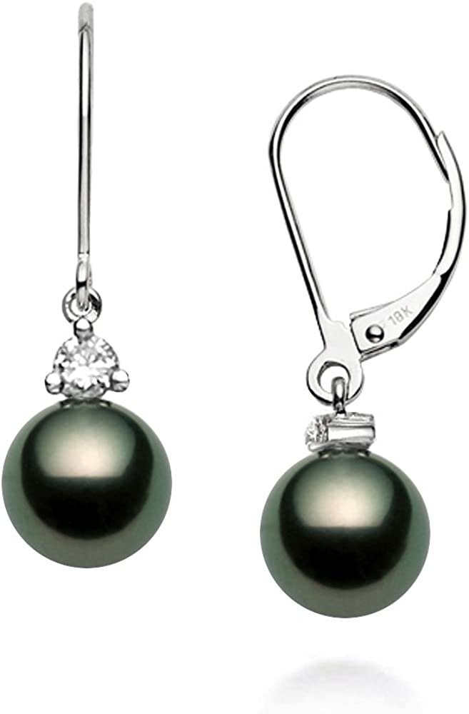 AAA White Pearl Leverback Dangle Earrings Gift Box 14k Yellow Gold over 925 SS