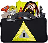 Secureguard Roadside Emergency Kit Supplies - New Version Includes Safety Hammer, First Aid Kit, Jumper Cables, Tow Rope, LED Flashlight, Gloves, Reflective Safety Vest - 107 Emergency Road Supplies