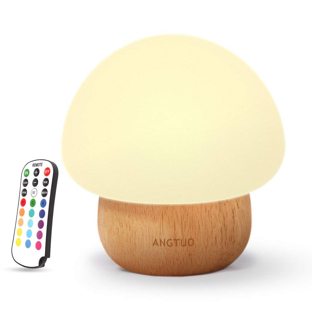 Night Lights for Kids, ANGTUO Baby LED Mushroom Night Lamp, Soft Silicone Lampshape, 100% Rubber Wood, 4 Light Modes and 16 Color by Wireless Remote - US Plug by ANGTUO
