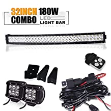 TURBO SII 30 32 inch Led Work Light Bar 180w Curved Spot Flood Combo Beam with 3Lead Remote Control Wiring Harness Kit and 2Pcs 4 inch 18w Sopt Led Work Lights