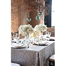 "TRLYC 50""*85"" Party Silver Table Cloth Sequin Tablecloth for Wedding"