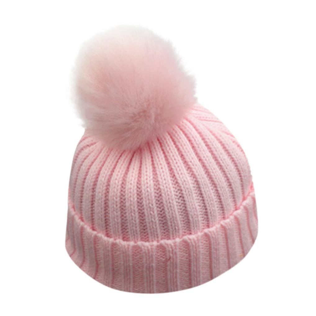 BANG Kids Toddler Warm Knit Beanie Hat Boy Girl Fur Pom Bobble Crochet Cap (Pink)