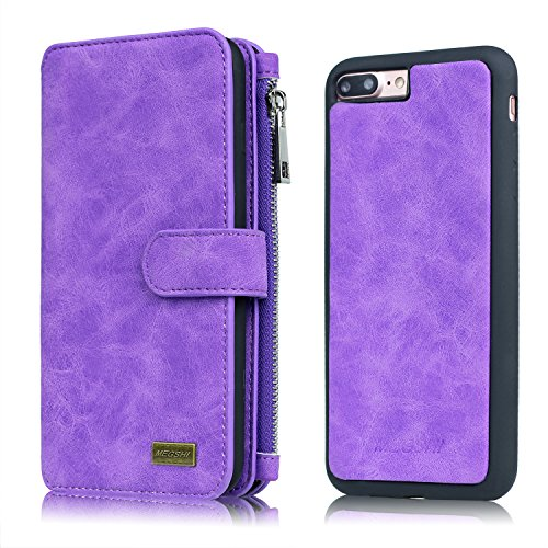 iPhone 6 PLUS/6s PLUS Wallet Case, MEGSHI Flip Case With Card Slot, Cash Slip And Slim TPU Phone Case With Magnetic Closure, 5.5 Inch, Purple