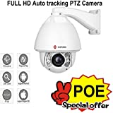 IMPORX CCTV 20X Auto Tracking PTZ IP Camera, POE+, 20X Optical Zoom, H.265 1080P Full HD Camera - ONVIF High Speed Outdoor Camera, Support SD Card and P2P, 500ft IR Distance, with Fan Heater and Wiper
