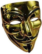 BitcoinMerch.com - GOLD Anonymous Halloween Christmas Party Movie Coplay Hacker Mask V FOR VENDETTA