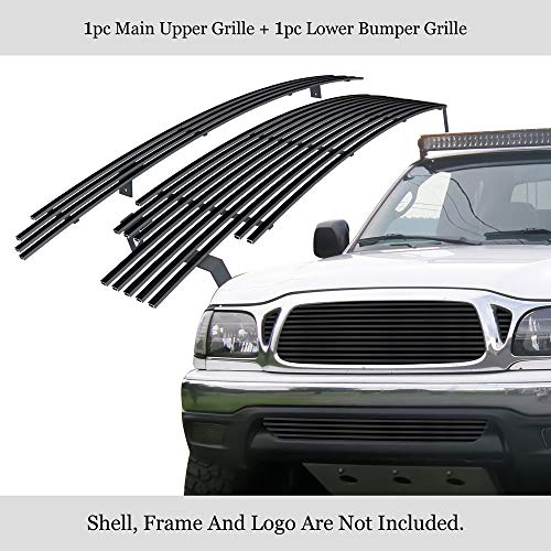 (APS Compatible with 2001-2004 Toyota Tacoma Stainless Steel Black Billet Grille Combo T87772J )