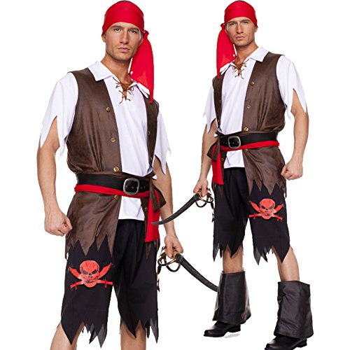 Men pirate costume halloween corsair dress 3002 (M) - Sexy Pirate Man