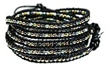 Beautiful Silvertone, Goldtone, Gray Nugget Bead Leather Wrap Bracelet, 5 Times Wrap