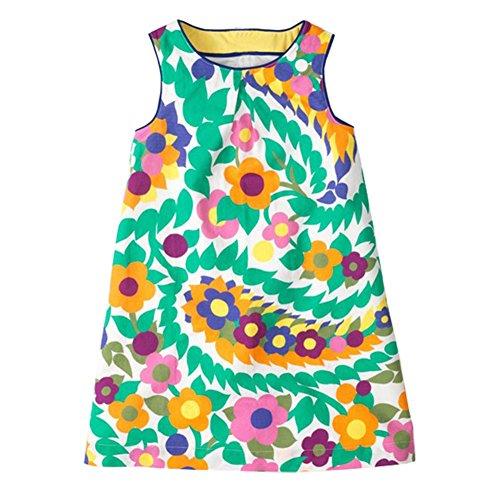 Printed Sleeveless Dress - HILEELANG Little Girls Cotton Dress Sleeveless Casual Summer Sundress Flower Printed Jumper Skirt