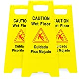 3-pack of Yellow Caution Wet Floor Signs, 2-Sided Bilingual Warning – Slip & Fall Accident Prevention by Bolthead Industrial