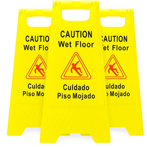 Wet Cone Bilingual Floor - 3-Pack of Yellow Caution Wet Floor Signs, 2-Sided Bilingual Warning – Slip & Fall Accident Prevention