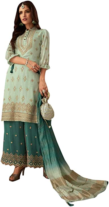 Amazon Com Shri Balaji Original Mint Green Designer Georgette Palazzo Salwar Kameez Suit Women Party Wear 8397 Clothing