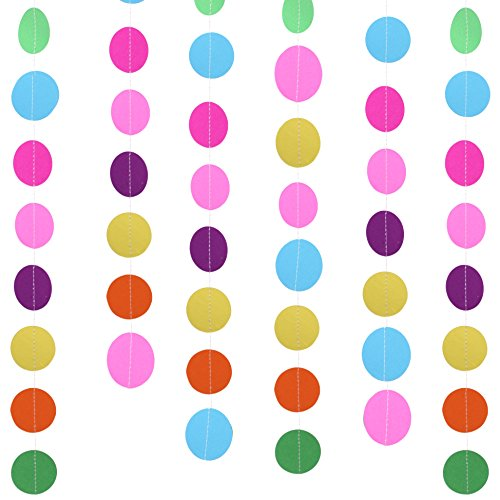 Senkary 2 Pack 4 Meters Circle Dots Paper Garland Decorations Rainbow Garland Paper Dot Party Garland for Wedding Birthday Party Decorations