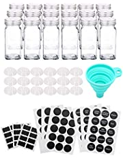 Tebery 4 Ounce Capacity Glass Spice Jars with Silver Metal Lids, Shaker Tops and Labels (Set of 18)