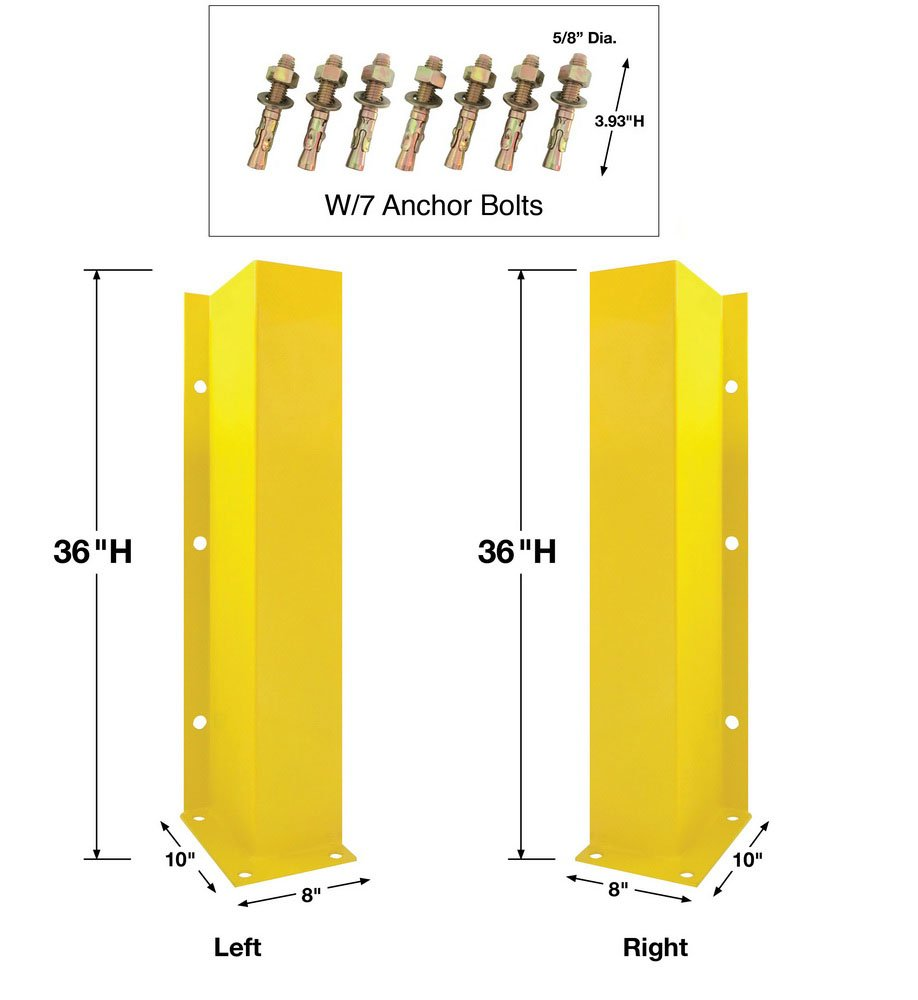 8NET Yellow Steel Safety Door Track Guards Protectors Barrier Left+Right Side 36'' H 3/16'' D w/ 10x8''Base w/ 7 Anchor Bolts PR16J-36S