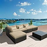 Modenzi 6L-U Outdoor Sectional Patio Furniture Espresso Brown Wicker Sofa Set (Light Beige)