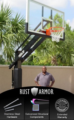 Pro Dunk Diamond with Rust Armor Package: Ultimate Adjustable In-Ground Basketball Goal System with 72 Inch Backboard 12x8 Inch Pole and 5 Foot Extension for Outdoor Backyard Courts or Institutions (72 Basketball Hoop)