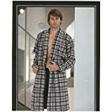 Massana - Mens Warm Bath Robe MASSANA Winter Lightweight Plaid Gray Gown - NEGRO, M