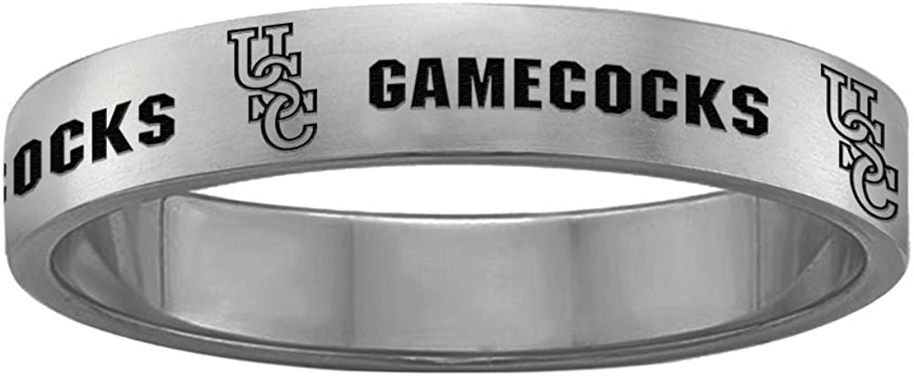 College Jewelry South Carolina Gamecocks Ring Narrow Style 4MM Wide Band Full Logo Design 7.5