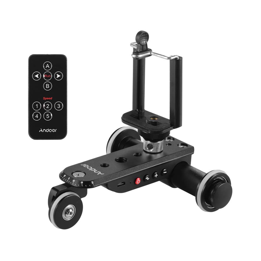 Andoer PPL-06S Pro Auto Dolly Motorized Video Slider Skater 5 Speeds Adjustable Aluminum Alloy Max. Load 4kg with 2.4G Remote Control Phone Holder for iPhone X/8/7/7plus by Andoer