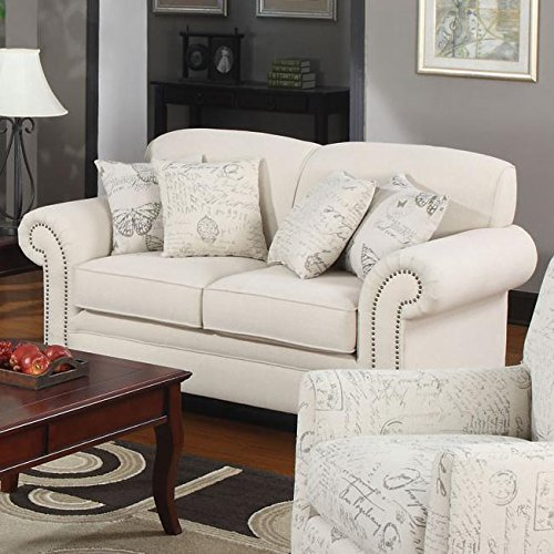 (Norah Loveseat with Antique Inspired Detail Oatmeal)