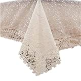 CJ Fashion Sheer Lace Tablecloths for Rectangle Tables Doule Layer Coffee Table Runner Beige 37''x57''