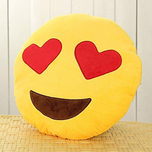 Amazon.com: HACBIWA 32cm Emoji Smiley Emoticon Yellow Round Cushion Pillow Soft Toy (Heart-eye): Home & Kitchen