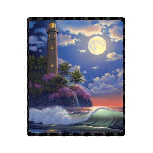 Cottage Lighthouse - Funny Custom Sea Lighthouse Cottage House Plush Throw Blanket Super soft and Cozy Fleece Blanket Perfect for Couch Sofa or bed 50