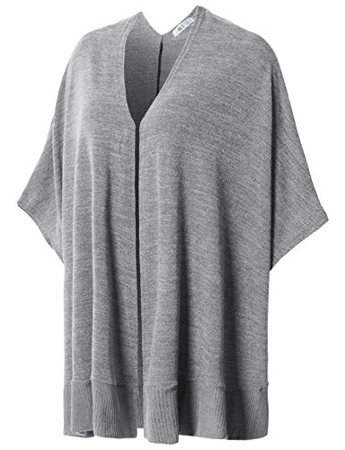 H2H Womens Winter Solid Knitted Cashmere Poncho Capes Shawl Sweater Gray US L/Asia L (CWOCASL02)