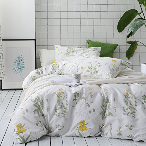 Botanical Duvet Cover Set, 100% Cotton Bedding, Yellow Flowers and Green Leaves Floral Garden Pattern Printed on White (3pcs, Full Size)