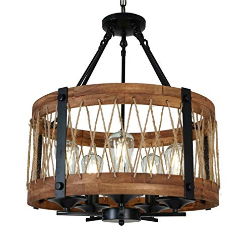 DERALAN Modern Rustic Chandelier Round Wood Five Lights Farmhouse Chandeliers Wooden Island Pendant Lighting Fixture Rope Metal Retro Ceiling Lights for Dining Room Kitchen Bedroom Hallway Foyer Bar