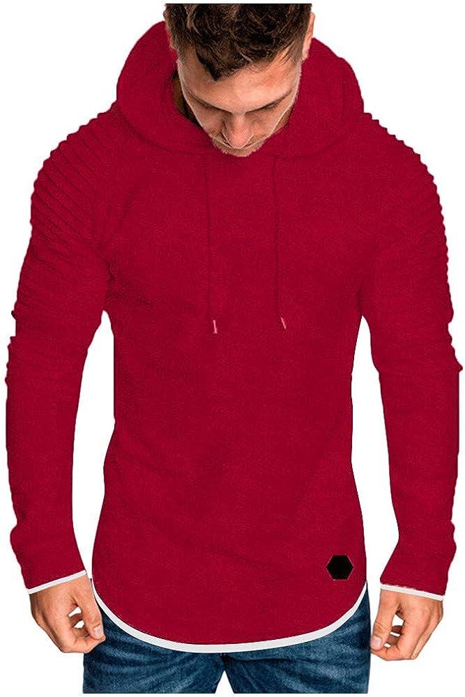 YEBIRAL Sudaderas Hombre Casual Regular Básica Estilo Diario Color Sólido Blusas Tops Camisas Deporte Camisetas Sudadera con Capucha(2XL, Rojo): Amazon.es: Ropa y accesorios